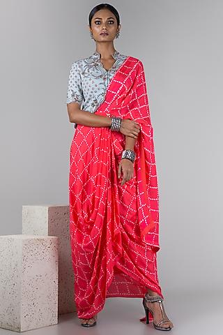 Powder Blue & Coral Pre-Draped Saree Set by Nupur Kanoi