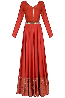 Red Pearl and Sequins Embroidered Anarkali Set by Neha Khanna