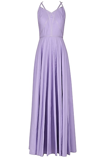 Lavender Strappy Crossover Gown by Neha Khanna