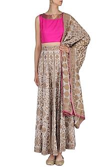 White and Copper Embroidered Handloom Lehenga Set by Neha Khanna