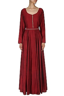 Maroon Pearl and Sequins Embroidered Gown by Neha Khanna