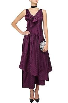 Wine Tiered Bow Long Dress by Neha Khanna