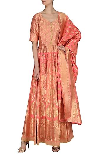 Coral Handloom Anarkali Gown Set by Neha Khanna