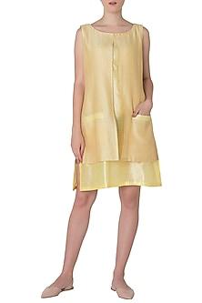 Lemon Yellow Layered Dress by Neha Khanna