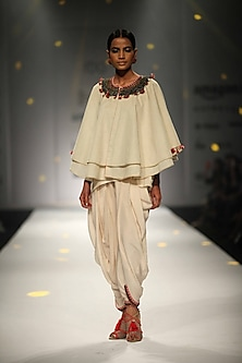 Ivory Embroidered Double Layer Cape with Cowl Dhoti and Cami Top by Nikasha