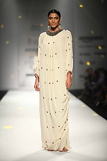 Ivory Kurlong Rouching Bead Embroidery Kurta with Gathered Sharara by Nikasha