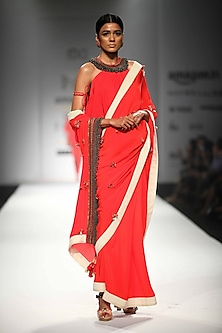 Kasum Red Embroidered Saree with Kali Blouse Top by Nikasha
