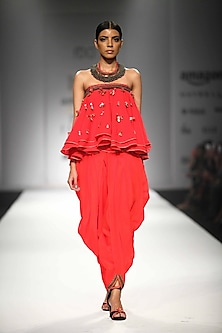 Kasum Red Embroidered Tube Kali Top with Cowl Dhoti Pants by Nikasha
