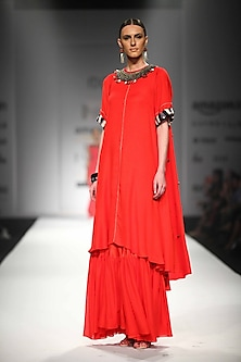 Red Asymmetric Embroidered Dress with Gathered Skirt by Nikasha