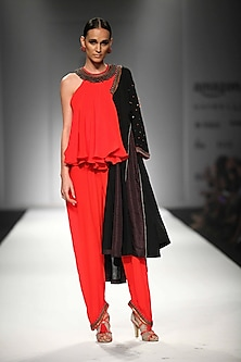 Red Kali Jumpsuit with Thar Long Black Embroidered Kali Jacket by Nikasha