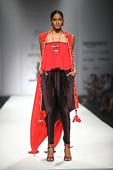 Red Embroidered Kali Tube Top with Black Overjacket and Printed Jodhpuri Pants by Nikasha