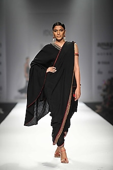 Black One Off Shoulder Long Asymmetric Blouse with Attached Palla with Black Dhoti Pants by Nikasha