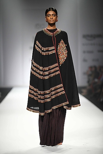 Black Embroidered Long Cape with Jersey Top and Printed Sharara Pants by Nikasha