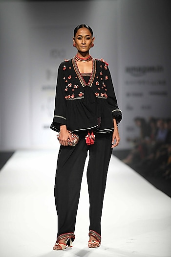 Black Jumpsuit with Black Embroidered Flared Jacket by Nikasha
