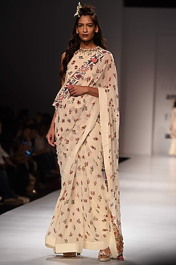 Lilly Ivory Floral Work Saree and Blouse Set by Nikasha
