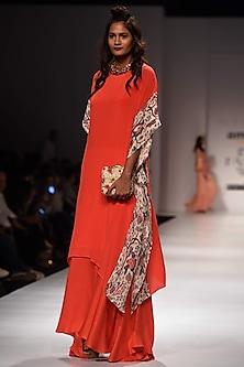 Lilly Coral Kaftan Tunic and Asymmetric Skirt Set by Nikasha