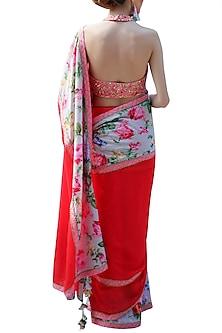 Red Embroidered Printed Saree Set by Nikasha