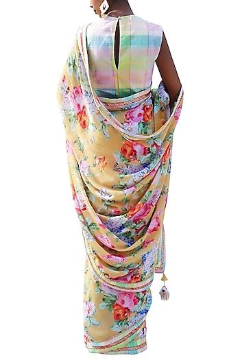 Ochre Yellow Embroidered Printed Saree Set by Nikasha