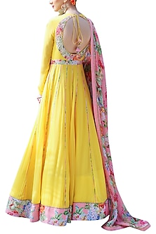 Yellow Embroidered Printed Kalidar Anarkali Set by Nikasha