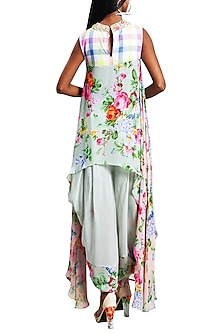 Mint Green Embroidered Printed Kurta With Dhoti Pants by Nikasha