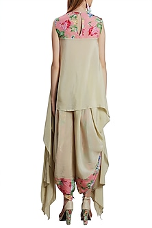 Beige Embroidered Printed Kurta With Dhoti Pants by Nikasha