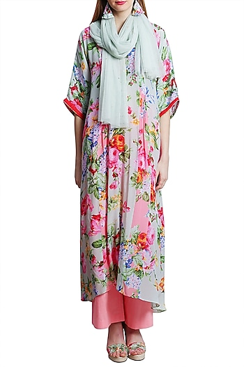 Mint Green Printed Kaftan With Pants & Embroidered Scarf by Nikasha