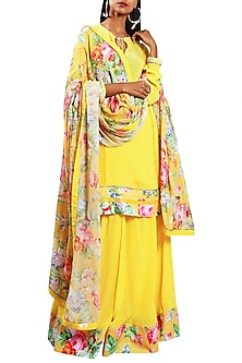 Pitambari Yellow Embroidered Printed Kurta Set by Nikasha