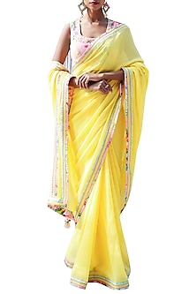 Yellow Embroidered Checkered Saree Set by Nikasha