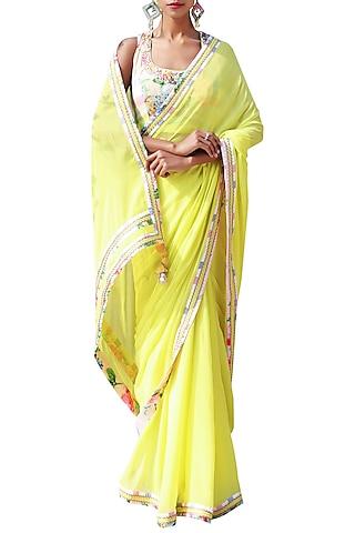Lime Green Embroidered Saree Set by Nikasha