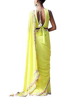Lime Green Embroidered Saree Set by Nikasha