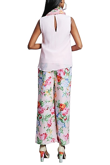 Soft Pink Embroidered Top With Printed Pants & Scarf by Nikasha