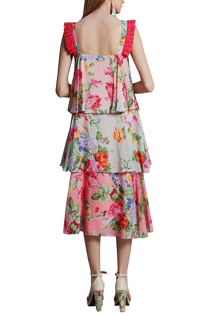 Multi Colored Printed Tiered Dress by Nikasha