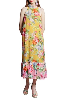 Ochre Printed Halter Dress by Nikasha