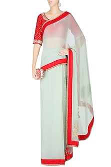 Mint and Red Saree with Red Embroidered Print Blouse by Nikasha