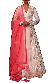 Salmon Pink Embroidered & Printed Kalidar Kurta Set by Nikasha