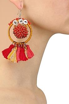 Yellow and Pink Beadwork Hoop Earrings by Nikasha
