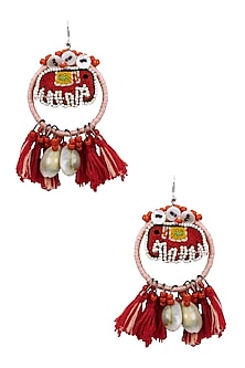 Pink and Red Elephant Beadwork Hoop Earrings by Nikasha