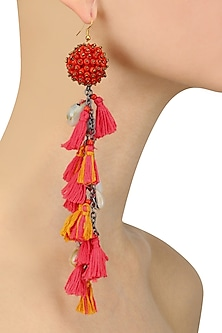 Red and Pink Beadwork and Tassel Fringe Fish Hook Earrings by Nikasha