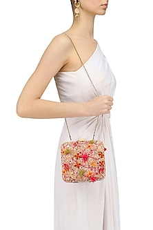 Ivory Floral Thread and Beads Embroidered Clutch by Nikasha