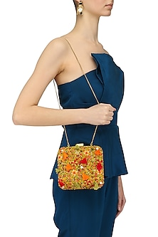 Pistachio Green Floral Thread and Beads Embroidered Clutch by Nikasha