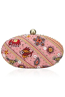 Pale Pink Animal Motifs Embroidered Clutch by Nikasha