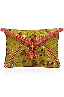 Mustard Yellow Thread and Beads Embroidered Flapover Clutch by Nikasha-ACCESSORIES AS GIFTS
