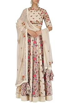 Off White Embroidered Floral Print Lehenga Set?????????  by Nikasha