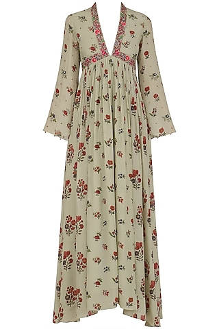 Mint Embroidered Floral Print Long Tunic by Nikasha