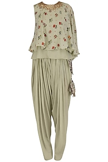 Mint Floral Print Embroidered One Sleeve Top with Patiala Pants by Nikasha