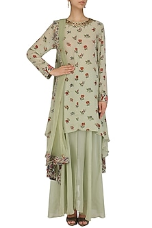Mint Chintz Print Asymmetrical Kurta and Sharara Set by Nikasha