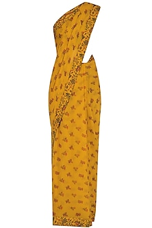 Mustard Yellow Lotus Pond Print Saree with Embroidered Blouse by Nikasha