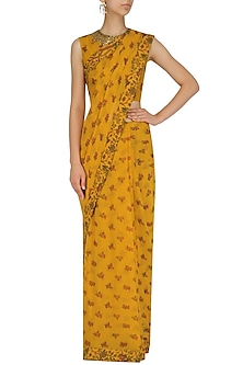 Mustard Yellow Lotus Pond Print Saree with Embroidered Blouse by Nikasha