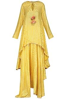 Yellow Asymmetrical Printed Tunic with Skirt and Dupatta by Nikasha
