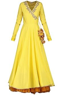 Rust Yellow Angrakha with Churidar and Dupatta by Nikasha